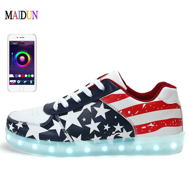 US $79 99 |APP Controlled LED Shoes for Teenagers Adults Lighted Dance  Shoes Large Size Light Up Shoes Men Luminous Shoes Glowing Unisex-in Men's