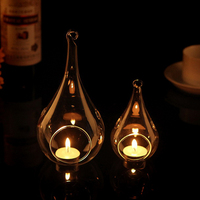 Diameter=8cm 8pcs/pack Water Drop Shaped Glass Candle Holder with 2 small holes Hanging Glass Terrarium Wedding Decoration