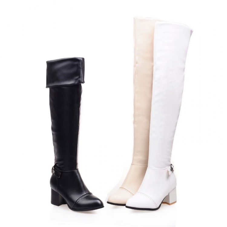 2017 Real Winter Boots Winter New Thick Heel Boots Size 34-46 Over Knee High Round Toe Waterproof Warm Platform Shoes Women S-7 qiu dong in fashionable boots sexy and comfortable women s shoes the new national style high heel heel thick heel