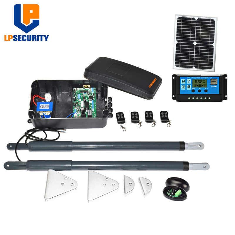 LPSECURITY DC12V пульт дистанционного управления электрический привод для распашных дверей механизм открытия y солнечная панель/контроллер фотоэлементов и 4 пультов