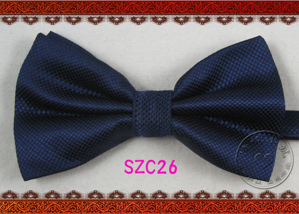 s soid blue bow tie polyester solid navy made