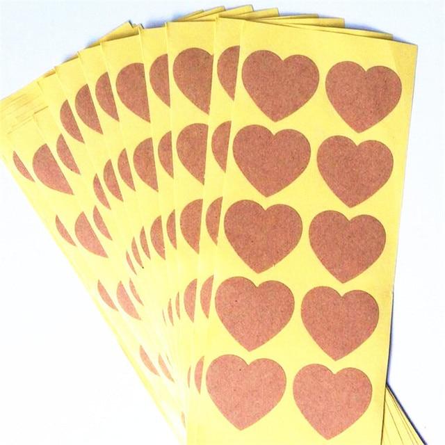 100pcs/lot Vintage Romantic Heart Design Blank Kraft Paper Sealing Label Sticker For Handmade Cookies Gifts Box Envelope Seal