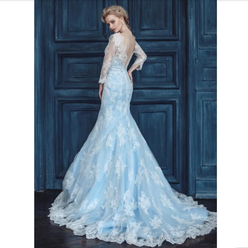 Online Shop Amazing Long Sleeve Lace Applique Blue Mermaid Wedding Dress 2015 New Arrivals