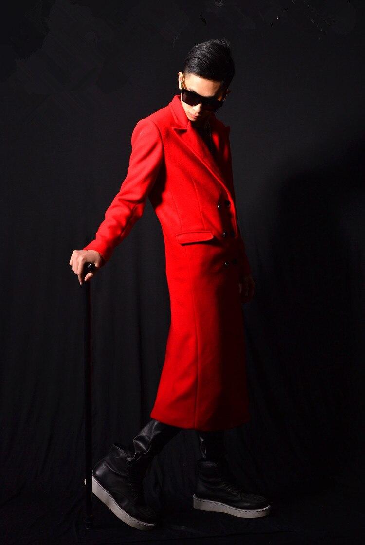 Moški kostum Rdeča dolga jakna Vrhunska oblačila Slim Star Show - Moška oblačila - Fotografija 3