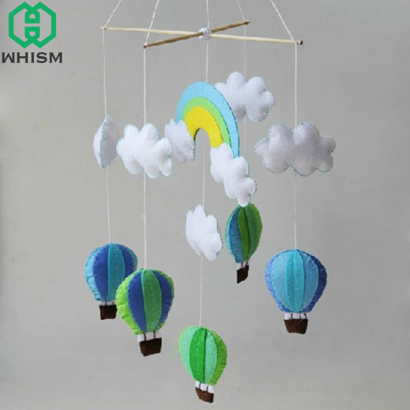 WHISM Sewing Soft Baby Bed Ornaments Handmade Campanula Pendant DIY Kids Toy Cloud Air Balloon Felt Wind Bell Wall Hanging Decor