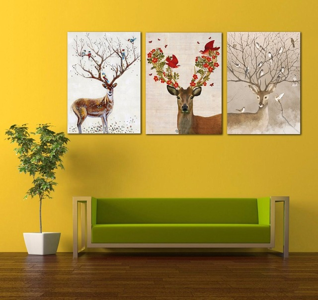 Modern 1 Panel Simple Nordic Deer Abstract Art Poster Canvas ...