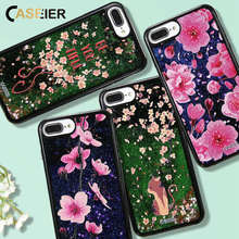 CASEIER Phone Case For iPhone 7 Plus Liquid Quicksand  Plastic + Soft Edge Cover Bling Heart Sequin Cases