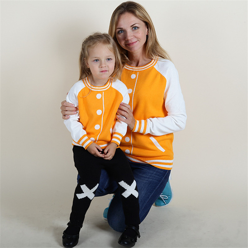 Family Matching Clothes Baseball Style Pullover Sweater Mother Kids Clothes Spring Autumn Winter Knitwear Boys Girls Sweaters