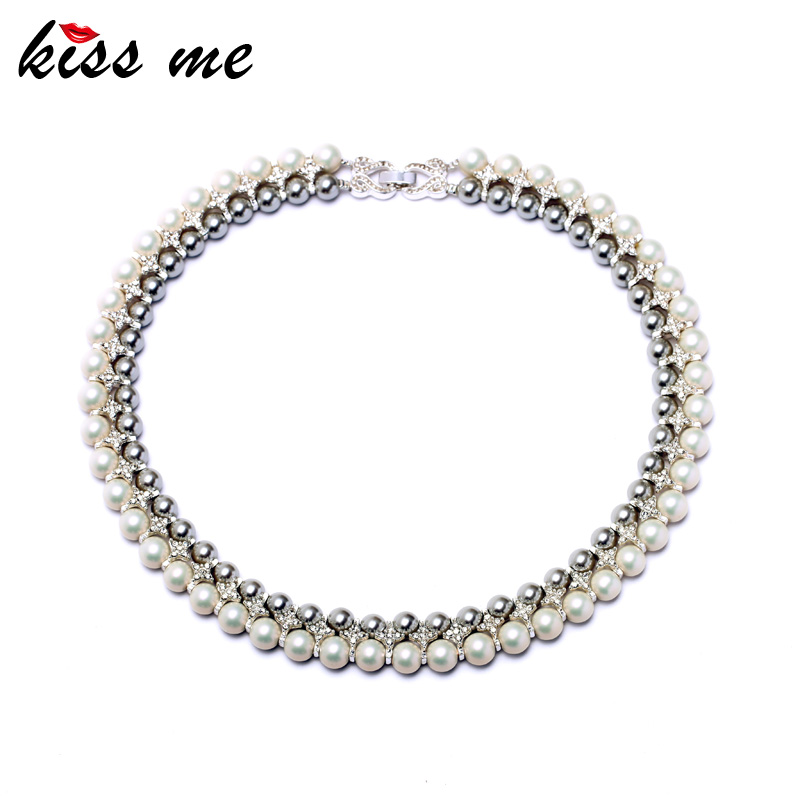 Noble Women Jewelry KISS ME New Fashion Double Layer Created Simulated Pearls Choker Necklace Factory Wholesale