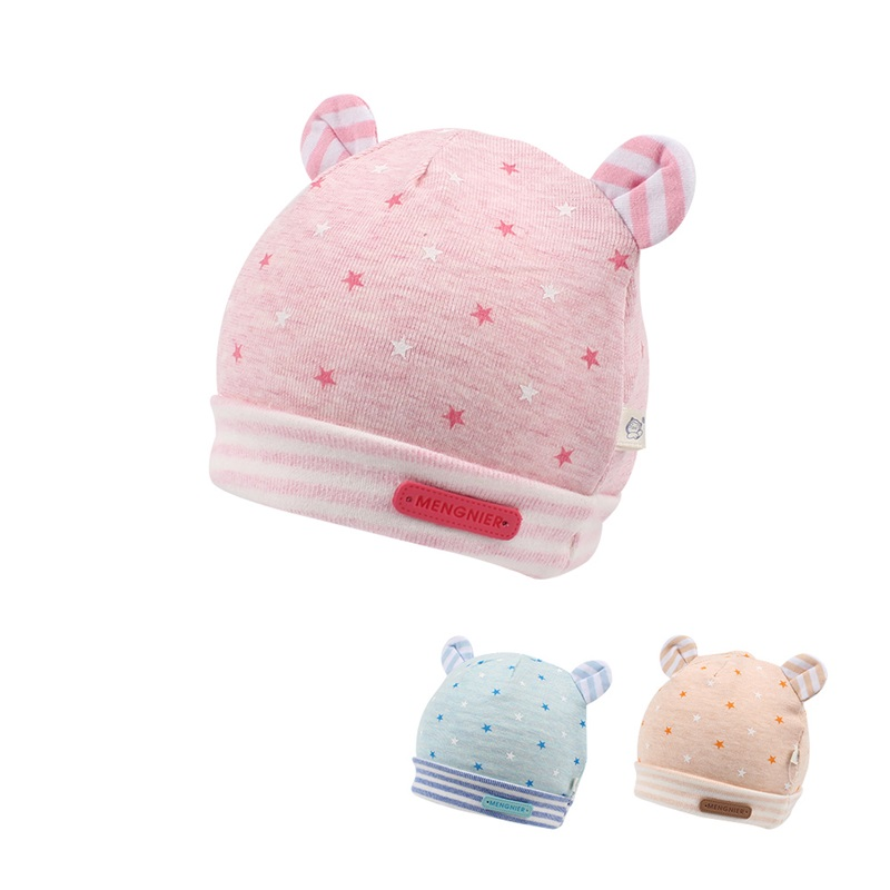 Cotton Soft Baby Hat For Newborn Girls Cute Star Newborn Baby Beanie Infant Boys Tire Hat With Bear Ears Pink/Blue Spring Autumn
