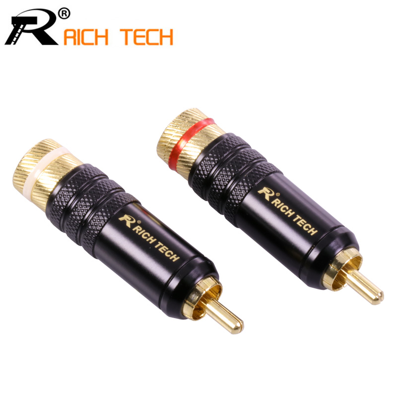 1pair/2pcs RICH TECH RCA Connector Luxury Copper RCA male Wire Connector gold plating audio adapter speaker plug for 8.5MM Cable 10pcs 4mm fine copper banana plug audio speaker amplifier cable wire power screw sheath stretch flex superpose connector adapter