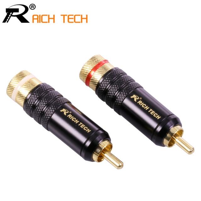 1pair/2pcs RICH TECH RCA Connector Luxury Copper RCA male Wire ...