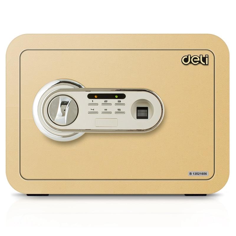Deli 35x25x25cm Mini size Safe box password box Fingerprint & electronic password Safe box For Home Office security box