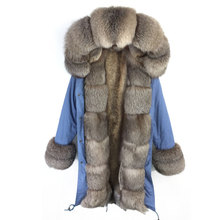 Winter Light Blue Fur parka in womens parkas With fur cuff sliver fox fur collar Women Coat