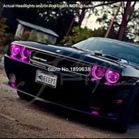 For 08 14 Dodge Challenger W O Pro Plasma Halo Rings Head Angel Eyes RGB LED