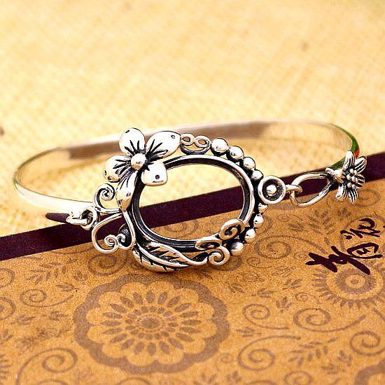 925 Sterling Silver Bracelet Semi Mount for 13x18mm Oval Cabochon Gemstone Women Fine Jewelry Flower Vintage Art Deco Style серьги art silver art silver ar004dwzmh30