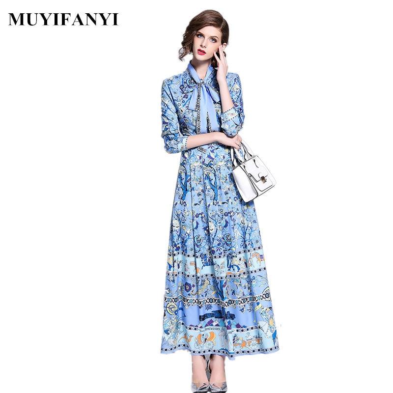 2018 Autumn European Fashion High Quality Designer Runway Dress Vintage Floral Print Bow Tie Neck Elegant Party Long Maxi Dress