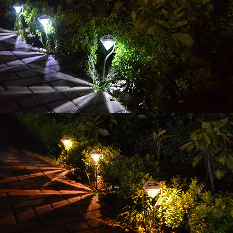 2/4/10/20 PCS Stainless Steel Outdoor LED Lawn Lamp Waterproof Solar Power Diamond Style Lawn Lights Spot Light For Garden Yard