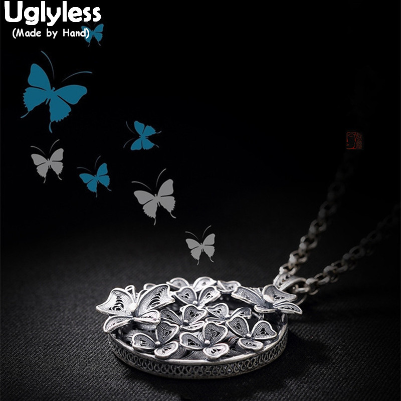 Uglyless Real 999 Fine Thai Silver Vintage Filigree Butterfly Pendant without Necklace Women Palace Style Floral Jewelry Ethnic nc 5364 women s bohemian style delicate floral necklace w pendant golden blue 26cm