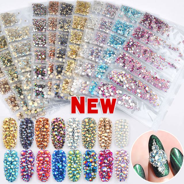 Multi-size SS4-SS16 Glass Nail Rhinestones 3D Charms Crystal AB Strass for  Nails 9a5afdf16625