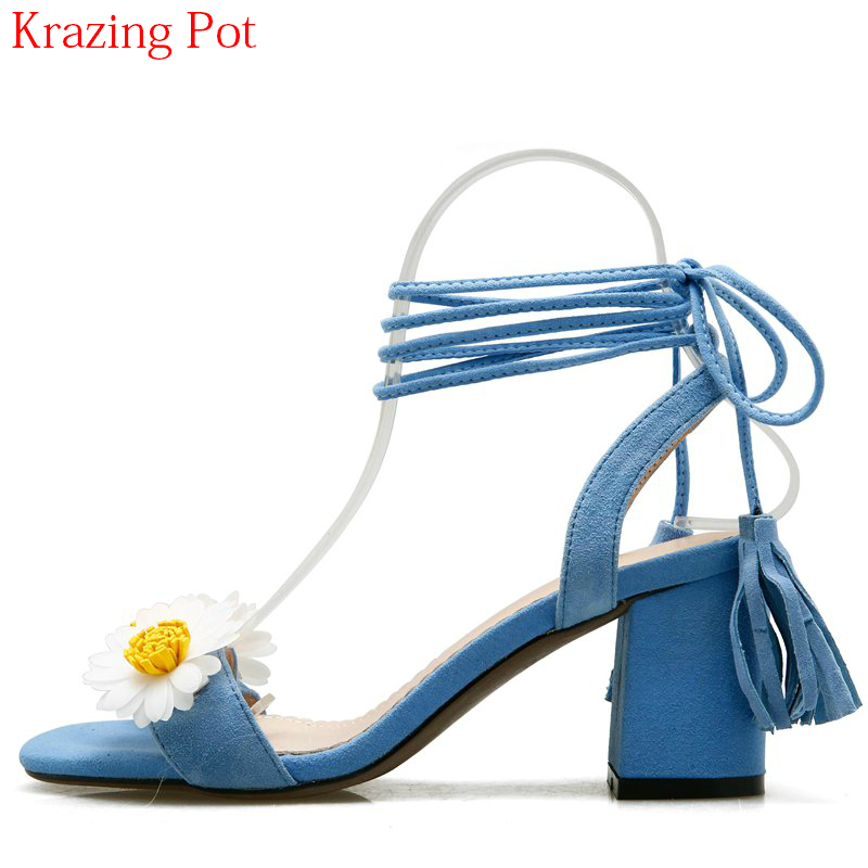 2018 New Arrival Gladiator Thick Heel Peep Toe Flowers Mixed Colors Summer Shoes Ankle Strap Lace Up Elegant Women Sandals Lhf8 2017 new summer fashion women casual shoes genuine leather lady leisure sandals gladiator all match ankle peep toe flowers