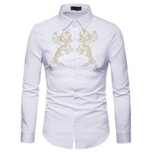 EU/US large size Mens Long Sleeved shirt 2018 Fashion brand Court wind embroidered Turn-down collar men shirts Casual