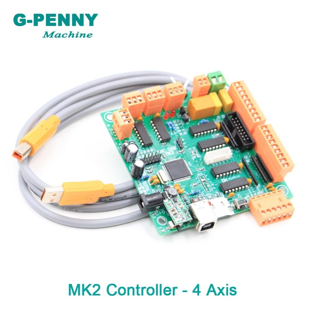 De alta qualidade! MK2 4 eixo USBCNC Placa de Interface de Controlador CNC USB DIY 100 khz placa de controle Multi-eixo multifuncional