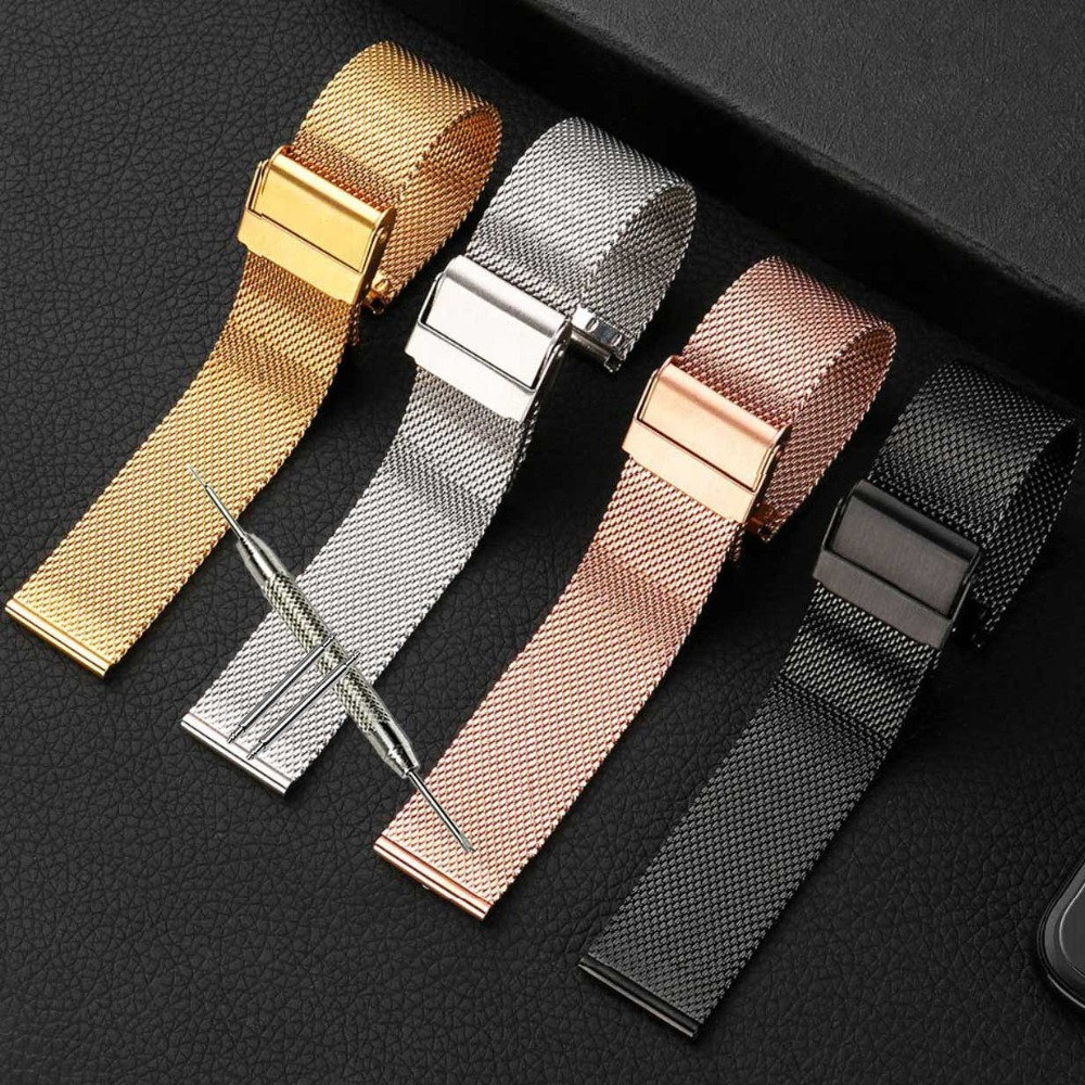 Watchband 12mm 14mm 18mm 20mm 22mm 24mm Universal Stainless Steel Metal Watch Band fossil Strap Bracelet Black Rose Gold Silver top quality new stainless steel strap 18mm 13mm flat straight end metal bracelet watch band silver gold watchband for brand