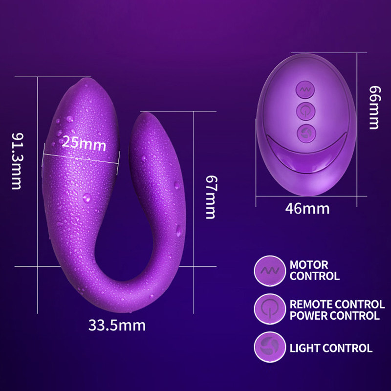 Wireless Vibrator Adult Toys For Couples USB Rechargeable Dildo G Spot U Silicone Stimulator Double Vibrators Sex Toy For Woman g spot vibrators u shape usb rechargeable silicone av wand vibrator double motors anal massage vibrator sex toys for women adult