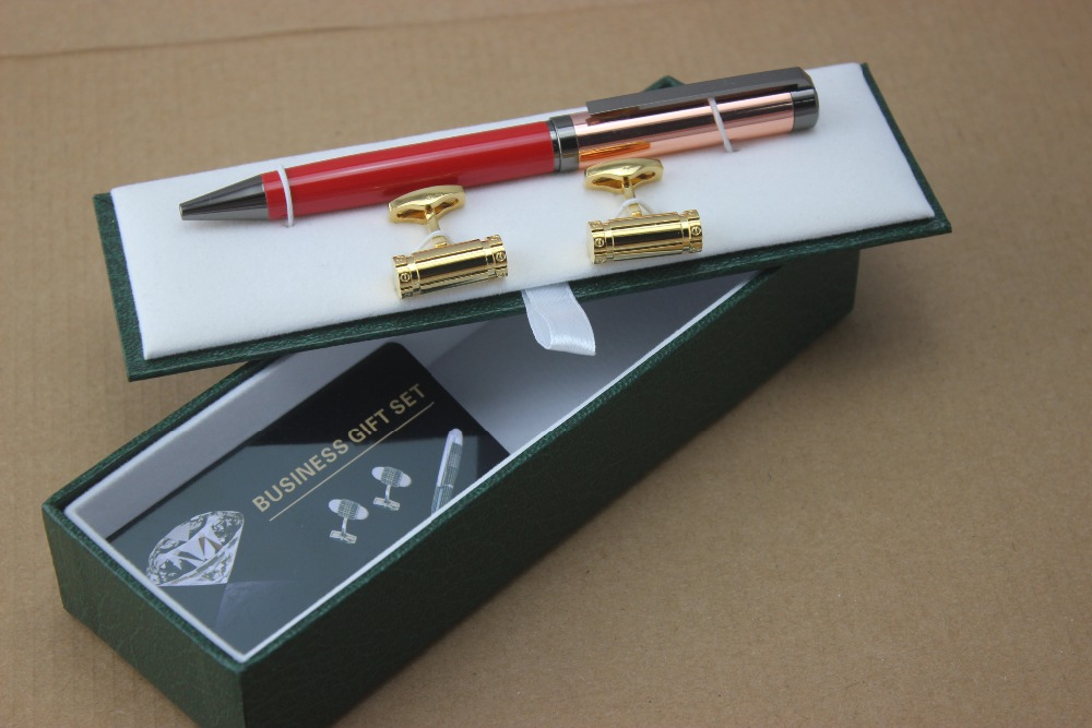 High Quality Red and rose gold metal ballpoint pen school office stationery supplies luxury and Cufflinks Set Luxury Gift Box high quality bamboo pole pattern green office stationery birthday present metal roller ball pen business cufflinks set box