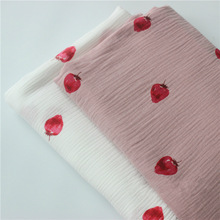 135 x50cm High Quality Soft Double Crepe Pink White Strawberry Texture Cotton Fabric, Make Shirt, Dress, Underwear, Cloth 160g/m