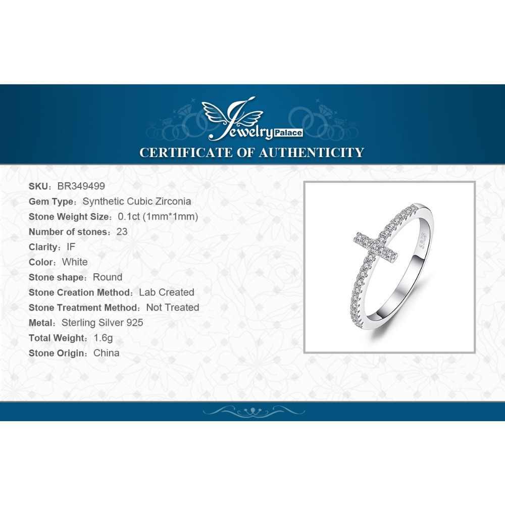 Jewelrypalace Chéo Sideway Kỷ Niệm Cubic Zirconia Bạc 925 Cho Nữ, Nhẫn Nữ Bạc 925 Trang Sức Mỹ Trang Sức
