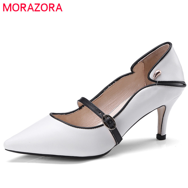 MORAZORA 2018 hot sale pumps women shoes pointed toe summer shoes mixed colors fashion shoes thin high heels party wedding shoes big size 40 41 42 women pumps 11 cm thin heels fashion beautiful pointy toe spell color sexy shoes discount sale free shipping