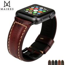 MAIKES For Apple Watch 38mm 42mm Series 4 3 2 1 Vintage Leather Watch Band For Apple Watch Strap 44mm 40mm Wrist Watch Bracelets