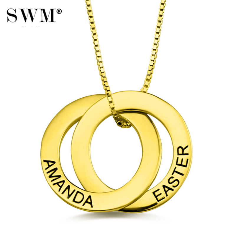 Women's Custom Name Russian Circle Necklace Interlocking Circles Necklaces Personalized Letter Pendant Jewelery Gold Chain Mom цены онлайн