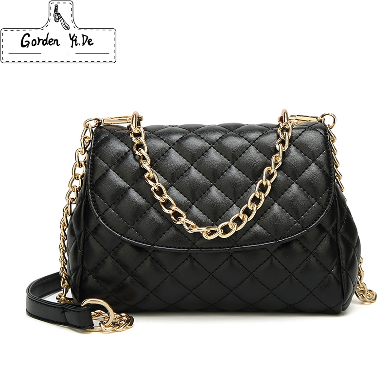 Best buy ) }}2018 Famous Popular Design New Women Luxury Quilted Plaid Chains Messenger Bag Brand