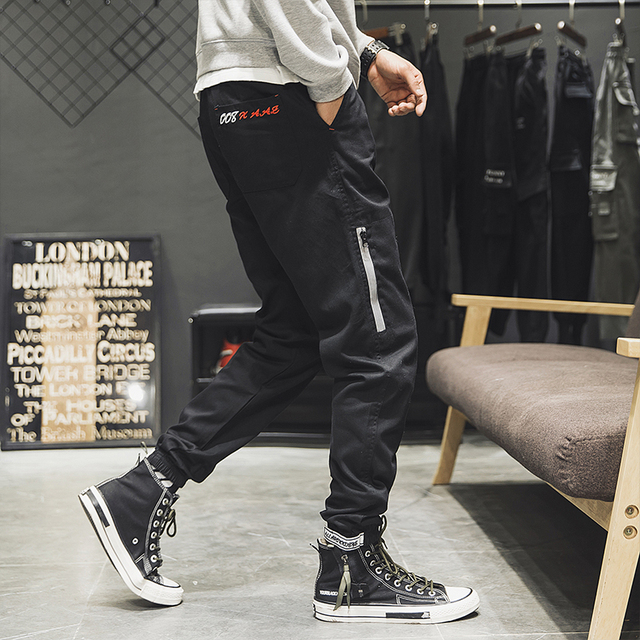 Spring 2019 Velcro cargo pants retro casual harem pants for men large size solid color small leg band leg pants nine point small