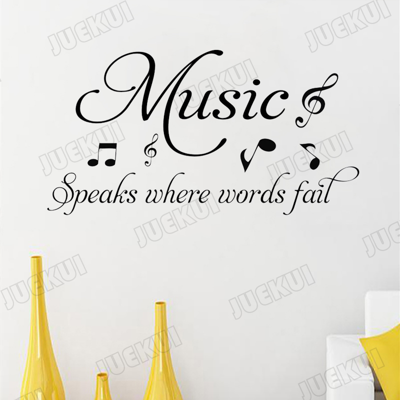 US $5.98 25% OFF|Music Speaks Where Words Fail Lettering Quotes Vinyl  Wallpaper Removable Stickers for Living Room Home Decor Sticker L830-in  Wall ...