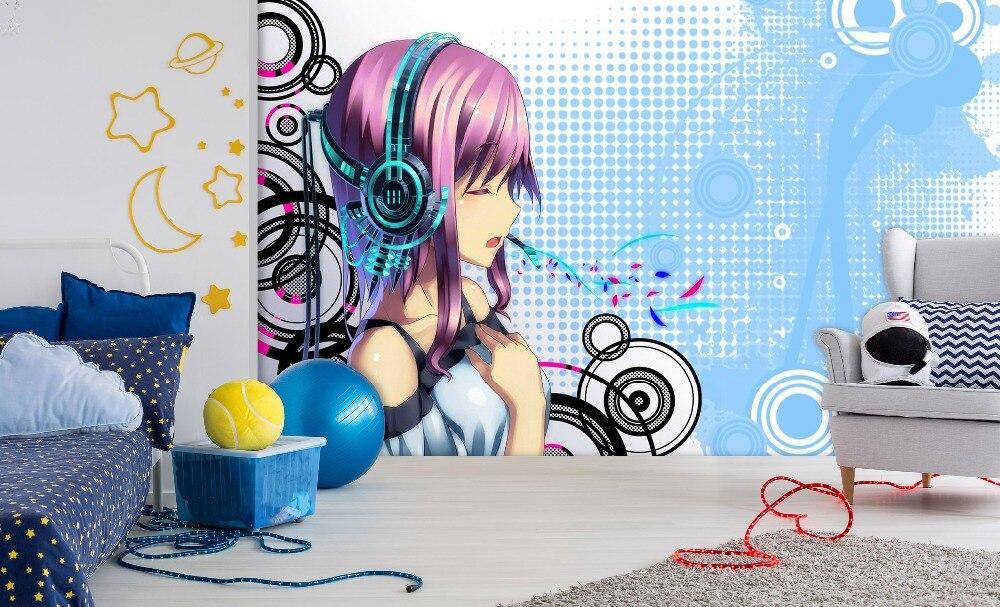 [Самоклеющиеся] 3D Супер Sonico музыка мультфильм 22 Япония Аниме настенная бумага настенная печать настенные наклейки