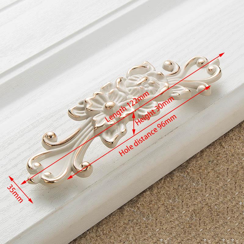 KAK цинк Aolly цвета слоновой кости ручки для шкафа кухонный шкаф дверные ручки для выдвижных ящиков Европейская мода оборудование для обработки мебели - Цвет: Handle-8823-96
