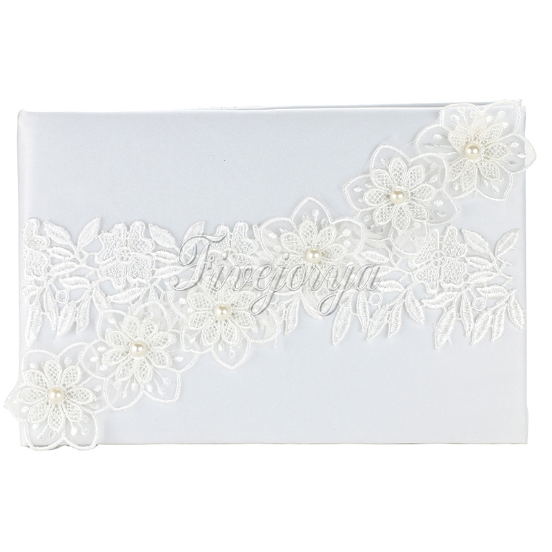 lovely white wedding guest book with lace flowers pearls16cm x