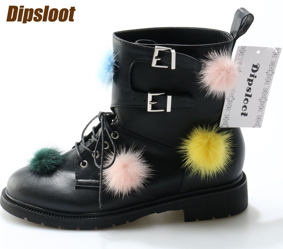 2017 Newest Mixed Colors Pom Pom Women Lace Up Ankle Boots Round Toe Ladies Low Heel Martin Boots High Quality Riding Boots high quality full grain leather and pu mixed colors boots size 40 41 42 43 44 zipper design lace up decoration round toe boots