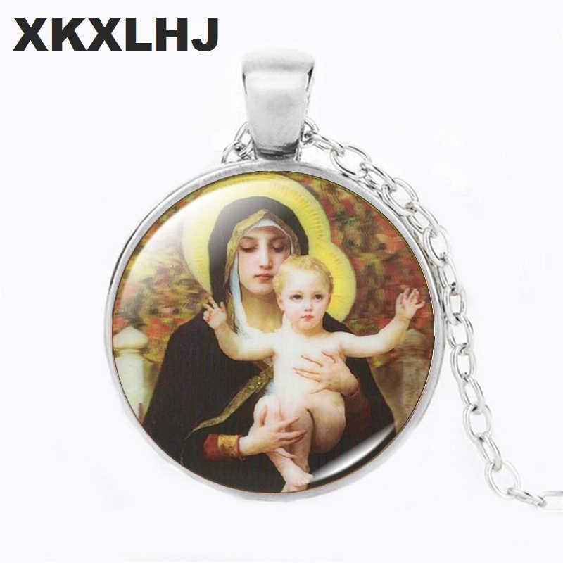 XKXLHJ לנשים מתנה בתולה מרי תינוק ישו דתי תכשיטי כסף/ברונזה צבע זכוכית קרושון תליון שרשרת