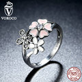 VOROCO 100% 925 Sterling Silver Pink Flower Poetic Daisy Cherry Blossom Finger Ring for Women Fashion Wedding Jewelry R004