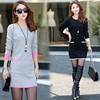 Make Qiu Dong Outfit Fashionable Stripe Loose Women Dress In The Long Sweater Sweater Dress
