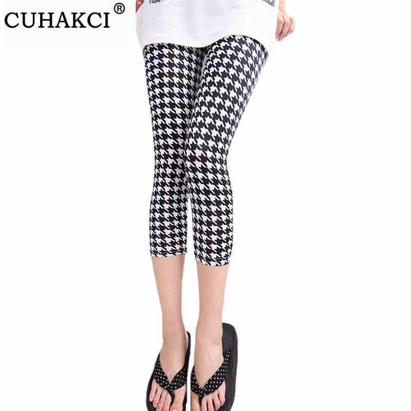 CUHAKCI Printing Pants Women High Quality Capris High Waisted Floral Lady's Fitness Leggings Seventh Elastic Slim Short Leggings