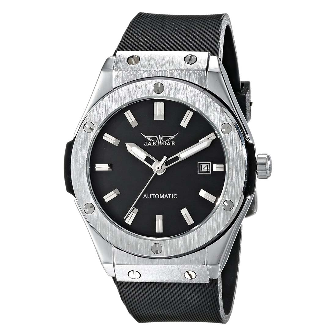 Jaragar Men Automatic Mechanical Watch, Black Rubber Strap, Date PMW085