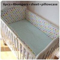 ¡Promoción! Juego de cama de cuna de 6 piezas juego de cama de cuna incluye (parachoques + hoja + funda de almohada)