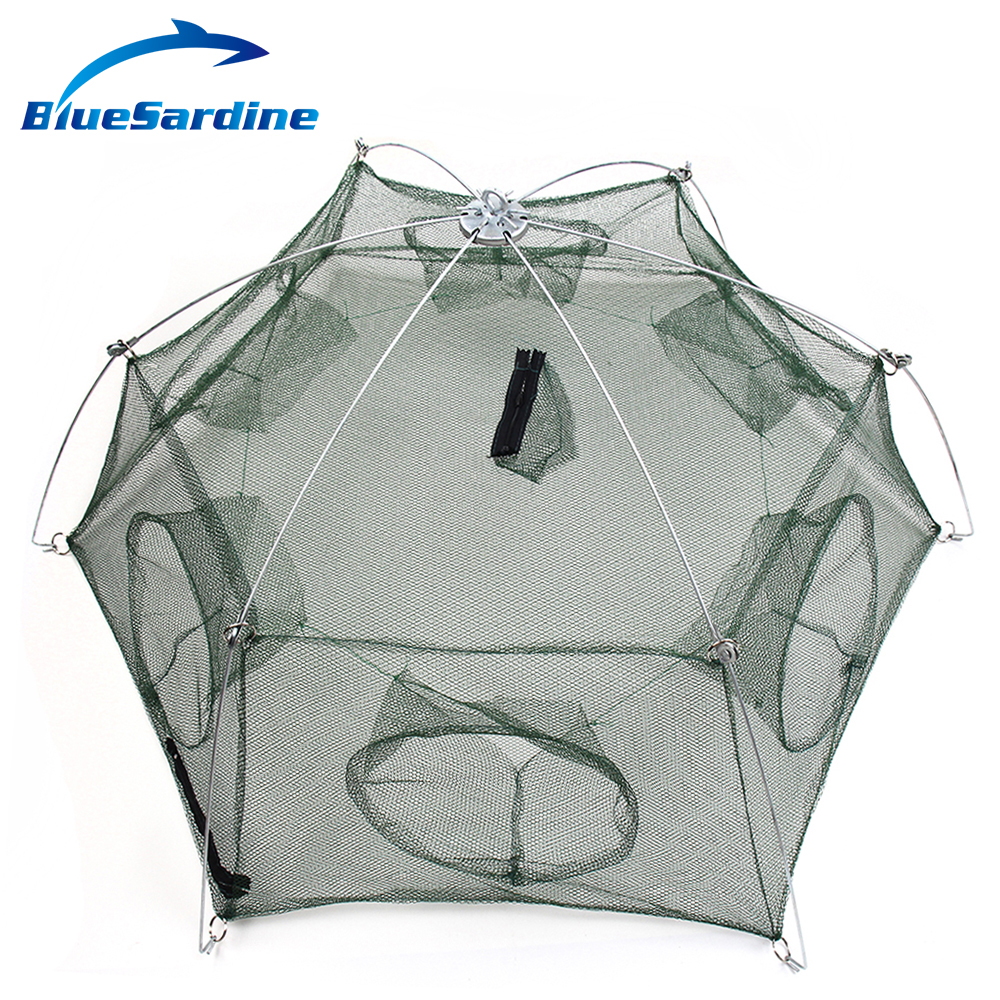 BlueSardine Large Fishing Net Shrimp Cage Nylon Mesh Net Small Fish Trap Fishing Tackle