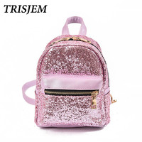 Women S Sequins Pink Silver Backpack Children Backpacks Mini Bag Fashion High Quality Cute Small Back